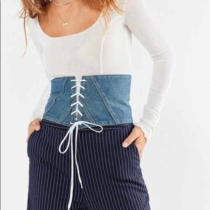 Urban Outfitters NWT Denim Lace-Up Corset Belt
